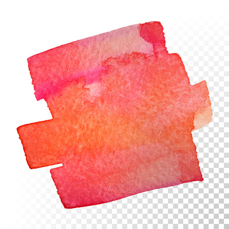 Illustration pour Abstract watercolor art hand paint isolated on transparent background. Vector watercolor stroke stains. Red-orange watercolour banner - image libre de droit