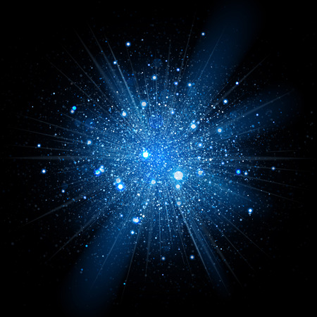Illustration for Blue glitter particles background effect. Sparkling texture. Star dust sparks in explosion on black background. - Royalty Free Image