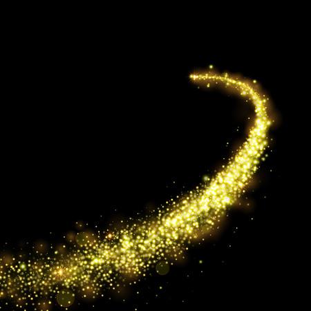 Illustration pour Gold glittering stars dust trail sparkling particles on black background. Space comet tail. - image libre de droit