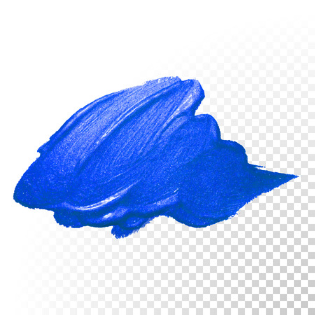 Ilustración de Deep blue watercolor brush stroke. Abstract shape. Vector oil paint smear on  transparent background - Imagen libre de derechos
