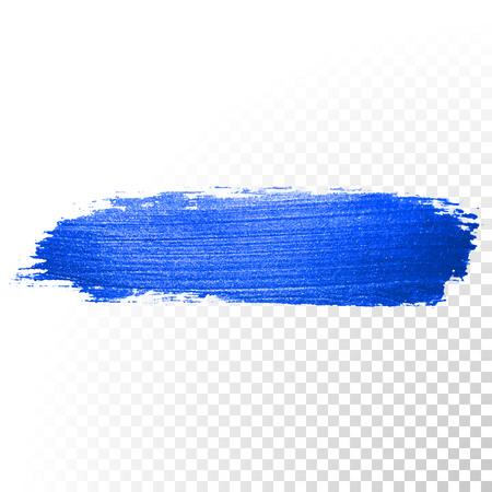 Illustration pour Deep blue watercolor brush stroke. Abstract shape. Vector oil paint smear line on transparent background - image libre de droit