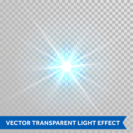 Vector star light radiance. Sparkling particle with glaring lens flare beams. Bright light flash isolated on transparent background