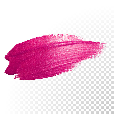 Vector pink watercolor brush stroke. Polish splash line trace. Abstract shape red oil paint smear on transparent background.