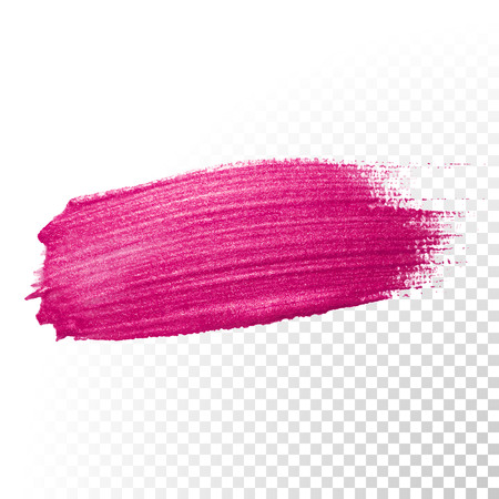 Illustration for Vector pink watercolor brush stroke. Polish splash line trace. Abstract shape red oil paint smear on transparent background. - Royalty Free Image
