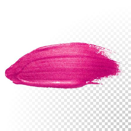 Illustration pour Vector pink watercolor brush stroke. Polish splash line trace. Abstract shape red oil paint smear on transparent background. - image libre de droit