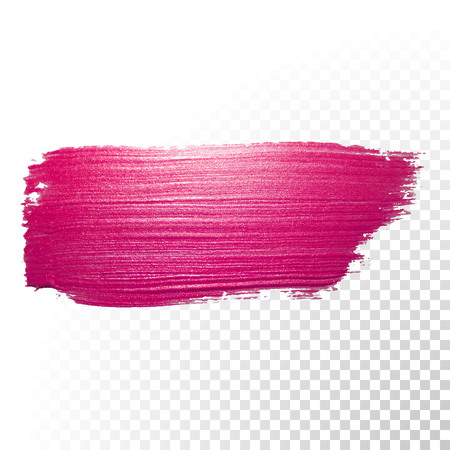 Vector pink watercolor brush stroke. Abstract polish splash trace shape. Red oil paint smear line on transparent background