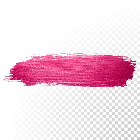 Ilustración de Vector pink watercolor brush stroke. Abstract polish splash trace shape. Red oil paint smear line on transparent background - Imagen libre de derechos