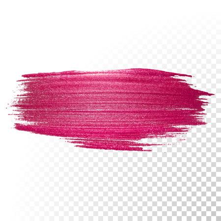 Illustration pour Vector pink watercolor brush stroke. Abstract polish splash trace shape. Red oil paint smear line on transparent background - image libre de droit