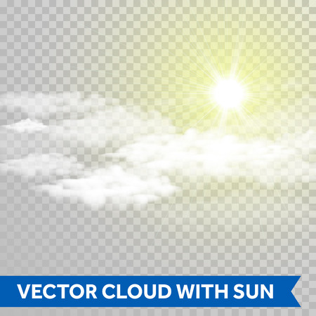 Illustration for Vector sun shine with cloud. Lens flare ray of light.. Glowing sun beam glaring isolated on transparent background - Royalty Free Image