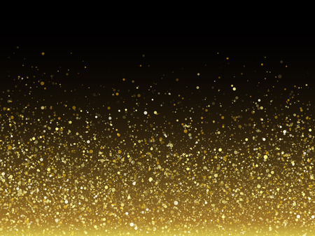 Ilustración de Vector gold glitter particles with sparkling star texture effect for luxury greeting rich card. Glittering spatter. Star dust sparks in explosion on black background. - Imagen libre de derechos