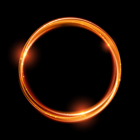 Illustration pour Vector magic gold circle. Glowing fire ring trace. Glitter sparkle swirl trail effect on black background. Bokeh glitter round wave line with flying sparkling flash lights. - image libre de droit