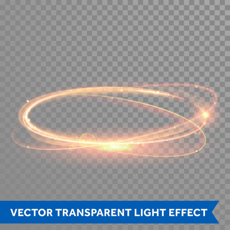 Vector magic gold circle. Glowing fire ring trace. Glitter sparkle swirl trail effect on transparent background. Bokeh glitter round wave line with flying sparkling flash lights.