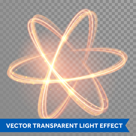 Illustration for Vector magic glowing light swirl trail trace effect on transparent background. Bokeh glitter fire spark spiral wave line with flying sparkling flash lights. Atom form. - Royalty Free Image
