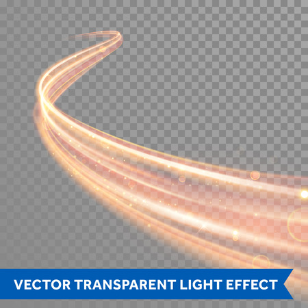 Illustration for Vector magic glowing spark swirl trail trace effect on transparent background. Bokeh glitter fire spiral wave line with flying sparkling flash lights. - Royalty Free Image