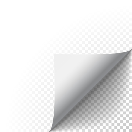 Illustration pour Paper corner peel. Page curled fold with shadow. Blank sheet of folded sticky paper note. Vector illustration sticker peel for advertising and promotional message isolated on transparent background. - image libre de droit