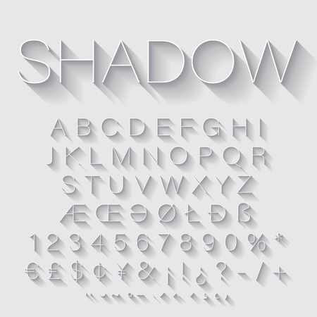 Thin Line alphabet set with shadow. Latin letters, numbers and special symbols
