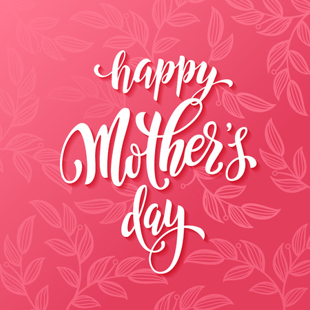 Illustration for Mothers Day vector greeting card. Pink red floral pattern background. Hand drawn lettering title. - Royalty Free Image
