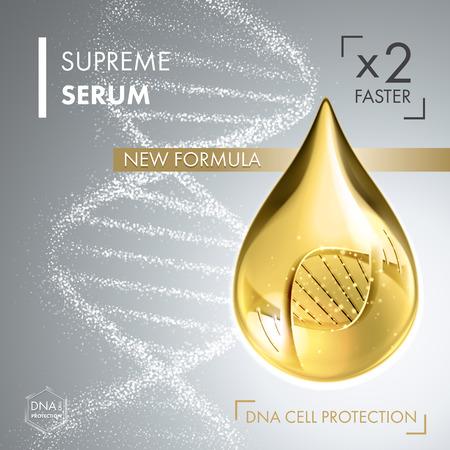 Illustration pour Supreme collagen oil drop essence with DNA helix. Premium shining serum droplet. Vector illustration. - image libre de droit