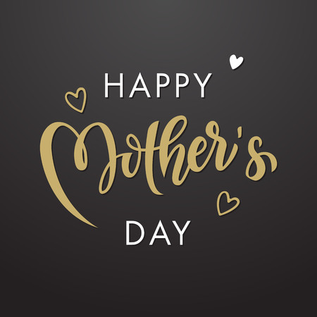 Illustration for Mothers Day vector greeting card. Floral leaves pattern background. Hand drawn lettering title. - Royalty Free Image