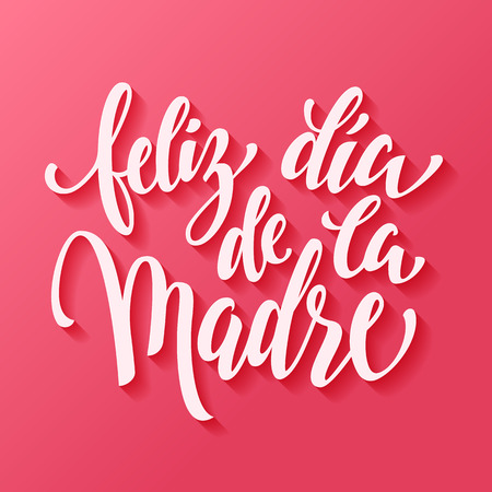 Illustration for Feliz dia de la madre. Mothers Day vector greeting card. Hand drawn lettering title in Spanish. Pink red background. - Royalty Free Image