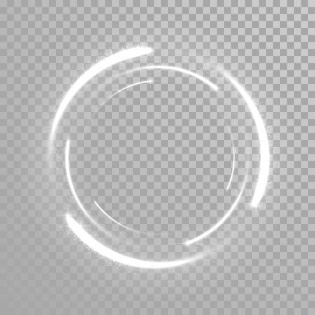 Illustration pour Vector sparkling light tail circle. Comet trail. Twirling lights tail. Transparent background. - image libre de droit