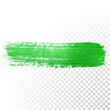 Illustration pour Vector green watercolor glitter brush stroke. Abstract polish splash trace. Green oil paint smear dab line on transparent background - image libre de droit