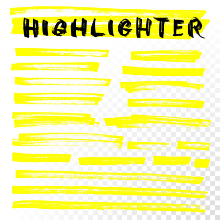 Illustration pour Vector highlighter brush lines. Marker pen highlight underline strokes. Yellow watercolor hand drawn highlight set - image libre de droit