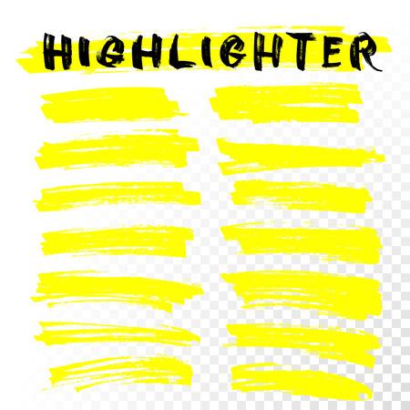 Illustration for Vector highlighter brush lines. Marker pen highlight underline strokes. Yellow watercolor hand drawn highlight set - Royalty Free Image