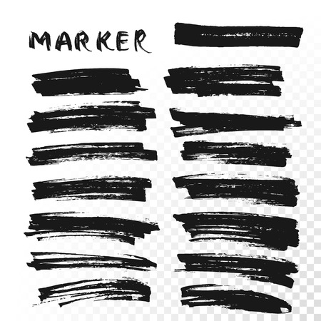 Vector highlighter brush lines. Marker pen highlight underline strokes. Black watercolor hand drawn highlight set