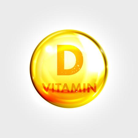Illustration pour Vitamin D gold icon. Vitamin drop pill capsule. Shining golden essence droplet. Beauty treatment nutrition skin care design. Vector illustration. - image libre de droit