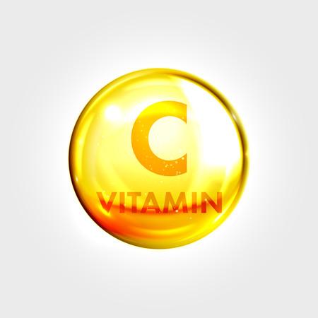 Illustration pour Vitamin C gold icon. Antioxidant ascorbic acid vitamin drop pill capsule. Shining golden essence droplet. Beauty treatment nutrition skin care design. Vector illustration. - image libre de droit