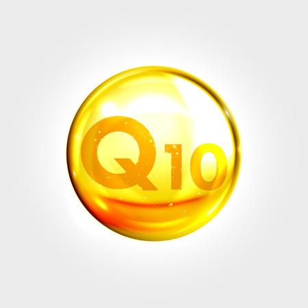 Illustration pour Q10 gold icon. Coenzyme drop pill capsule. Shining golden enzyme essence droplet. Beauty treatment nutrition skin care design. Vector illustration. - image libre de droit