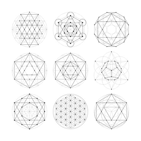 Illustration pour Numerology astrology signs and symbols. Hipster esoteric sacred geometry abstract pattern illustration. Sacral flower of life symbol. Metatrons Cube. - image libre de droit