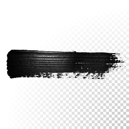 Ilustración de Black watercolor brush stroke. Highlighter marker glossy dab. Abstract oil paint polish splash trace. Gouache stroke. - Imagen libre de derechos