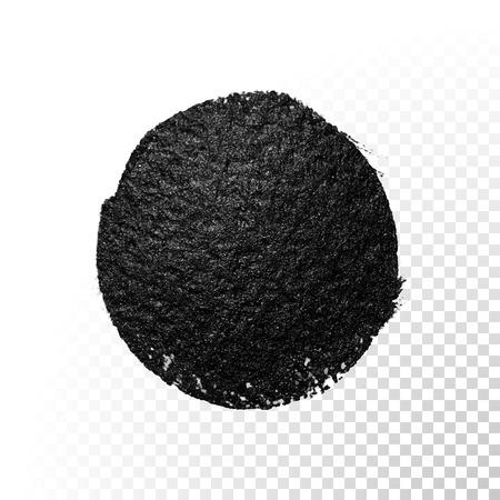 Vector black watercolor glitter brush blob stroke. Abstract tar polish splash circle. Oil paint blot smear on transparent background