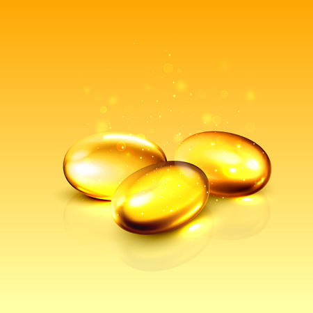 Gold oil collagen 3D capsule. Healthy dietary capsule supplement product concept. Vector vitamin e collagen pill illustration.