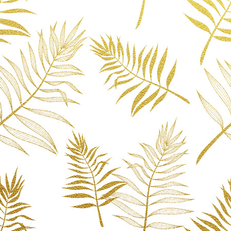 Illustration for Palm leaves golden seamless pattern. Vector botanical illustration. Gold glitter palm leaf. Hand drawn palm pattern background wallpaper. - Royalty Free Image
