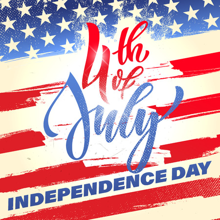 Illustration pour Fourth of July USA Independence Day greeting card. 4 July America celebration wallpaper. Independence national holiday US flag card design. - image libre de droit
