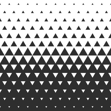 Illustration for Vector halftone abstract transition triangular pattern wallpaper. Seamless black and white triangle geometric background. - Royalty Free Image