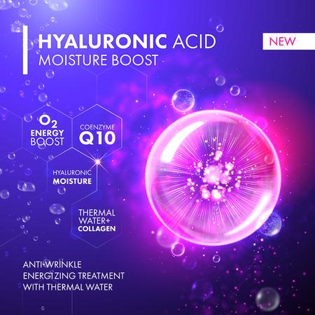 Illustration pour Hyaluronic Acid Moisture Boost. O2 collagen water molecule pink bubble drop. Skin care marine oxygen formula treatment design. Coenzyme anti wrinkle thermal water solution. - image libre de droit