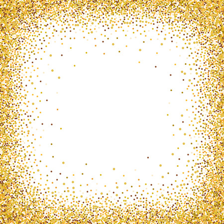 Illustration pour Gold glitter confetti frame for festive greeting card template. Vector holiday wallpaper with sparkles on white background. - image libre de droit