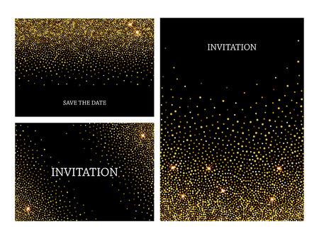 Invitation letters template with gold glitter confetti background