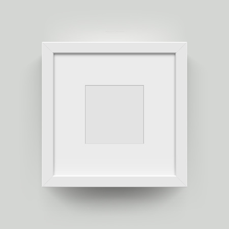Ilustración de Square blank picture frame for photographs. Vector realisitc paper or plastic white picture-framing mat with wide borders shadow. Isolated picture frame mockup template on wall background - Imagen libre de derechos