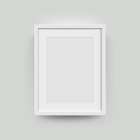 Illustration for Picture frame for photographs. Vector realisitc paper or plastic white picture-framing mat with wide borders shadow. Isolated picture frame A3, A4 vertical mockup template on gray - Royalty Free Image