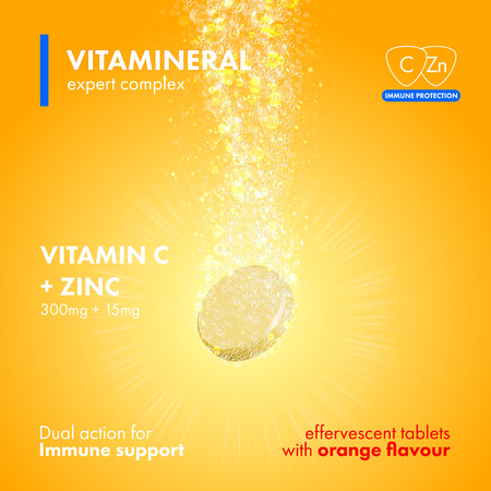 Illustration pour Effervescent soluble tablet pills. Vitamin C plus Zink soluble pills with orange flavour in water with sparkling fizzy bubbles trail. Vitamineral complex pacakge design with citrus yellow background - image libre de droit