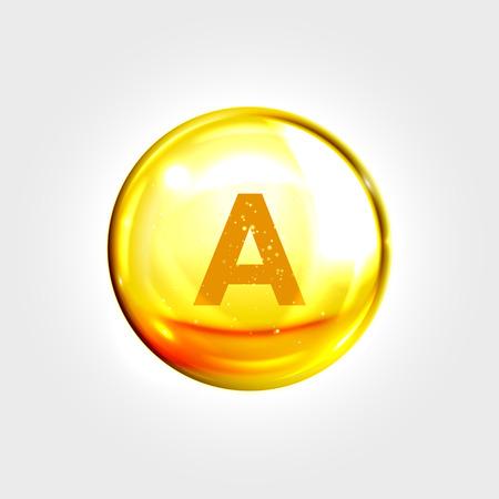 Illustration pour Vitamin A gold icon. Retinol vitamin drop pill capsule. Shining golden essence droplet. Beauty treatment nutrition skin care design. Vector illustration - image libre de droit