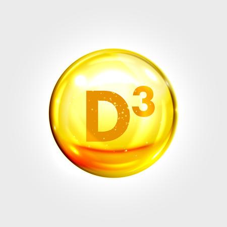 Illustration pour Vitamin D3 gold icon. Cholecalciferol vitamin drop pill capsule. Shining golden essence droplet. Beauty treatment nutrition skin care design. Vector illustration - image libre de droit