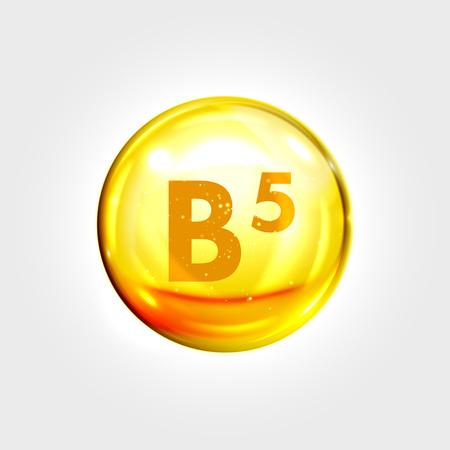 Illustration pour Vitamin B5 gold icon. Pantothenic acid vitamin drop pill capsule. Shining golden essence droplet. Beauty treatment nutrition skin care design. Vector illustration - image libre de droit