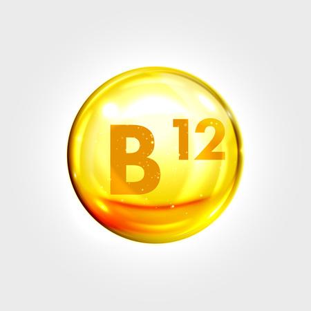 Illustration pour Vitamin B12 gold icon. Cobalamin vitamin drop pill capsule. Shining golden essence droplet. Beauty treatment nutrition skin care design. Vector illustration - image libre de droit