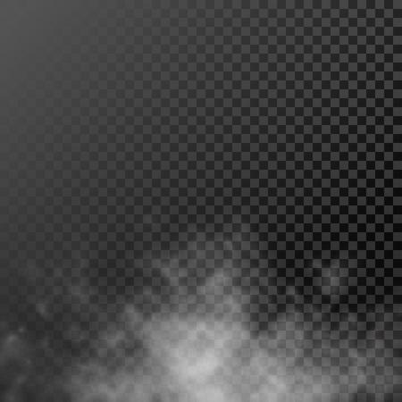 Illustration pour White translucent smog vapor on background. Vector rising smoke mist - image libre de droit